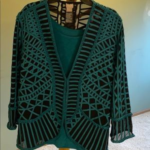 Chico's size 3 teal and black jacket